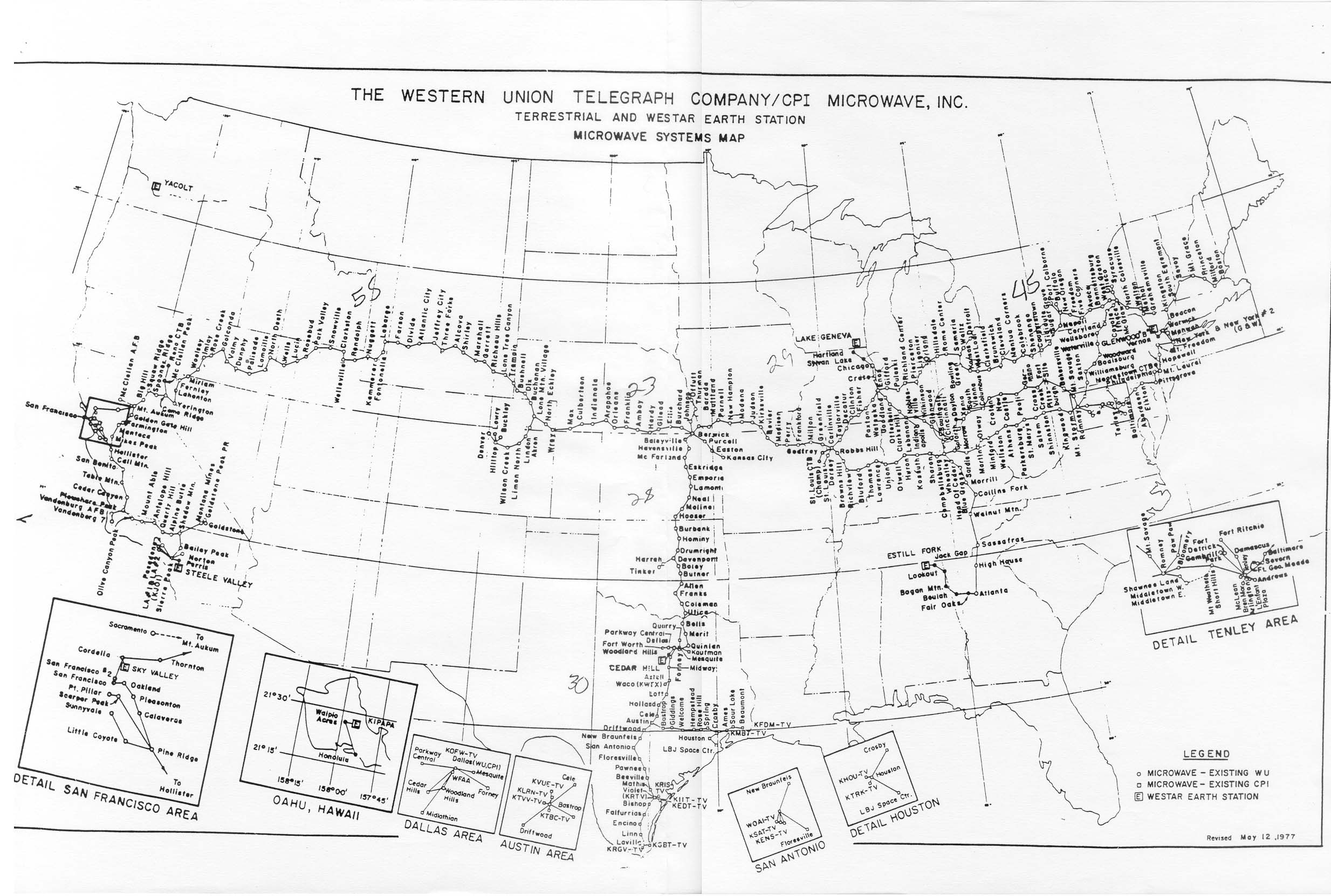 Map Of Western Union Cpi Microwave Network From 1977